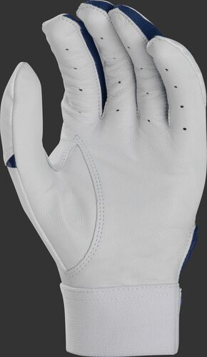 White palm of a white/navy Rawlings 5150 batting glove - SKU: BR51BG-N