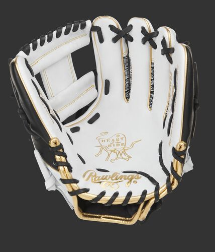 White palm of a Rawlings HOH infield glove with a white I-web and black laces - SKU: PRO204-2WBZ
