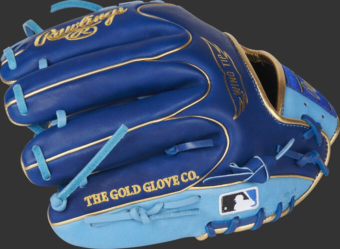 Royal finger backs of a Rawlings HOH infield glove with the MLB logo on the pinky - SKU: PRO204W-2R