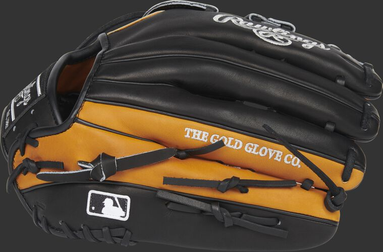 Black/Horween tan back of a left hand throw Heart of the Hide Horween glove with the MLB logo on the pinkie - SKU: PRO3039-6HTB