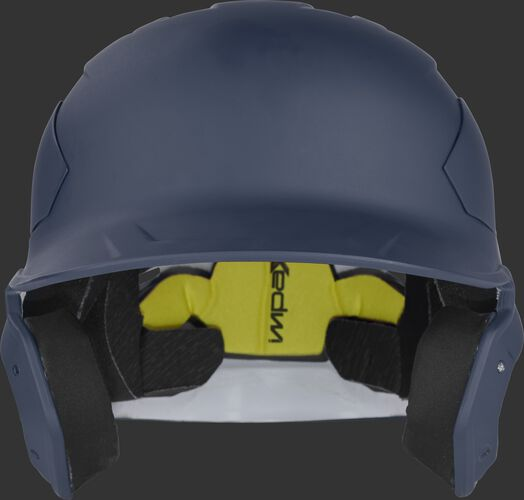 Front of a CAR07A high school/college MACH Carbon baseball helmet with a matte navy shell