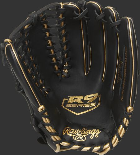 Black palm of a Rawlings R9 outfield glove with a gold palm stamp logo and black laces - SKU: R96019BGFS