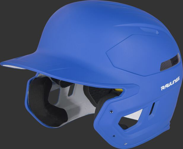Left angle view of a matte royal CAR07A MACH Carbon high school/college batting helmet