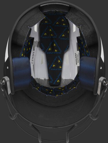 Black foam padding on the inside of a Rawlings Mach fastpitch helmet - SKU: MSB13S-W/B