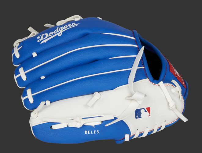Back of a blue/white LA Dodgers youth infield glove with the MLB logo on the pinky - SKU: 22000011111
