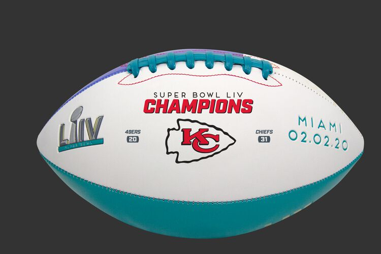 A Super Bowl 54 Champions Kansas City Chiefs full size football with the team logo, Super Bowl logo and score