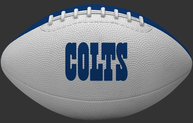 White side of an Indianapolis Colts rubber Gridiron football with team name SKU #09501070121