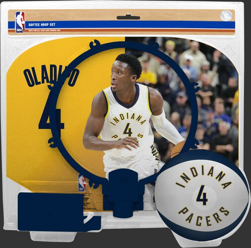 A NBA Indiana Pacers Victor Oladipo softee hoop set  with a picture of Oladipo on the backboard - SKU: 03544543511