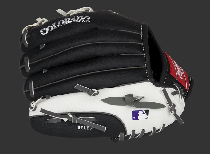 Back of a black/white Colorado Rockies 10-Inch youth glove with the MLB logo on the pinky - SKU: 22000025111