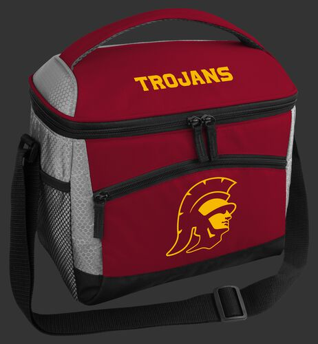 A red USC Trojans 12 can soft sided cooler with a team logo on the front - SKU: 10123100111