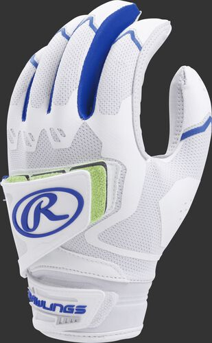 A white FPWPBG-R women's Workhorse batting glove with royal trim and pad over the back of the palm