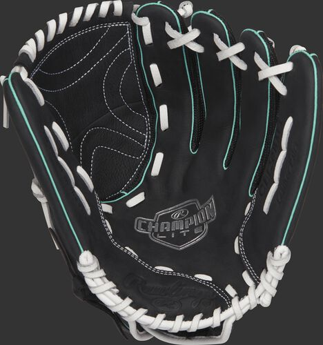 CL120BMT Rawlings 12-inch softball outfield glove with a black palm and white laces