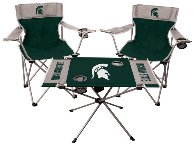 Front of Rawlings Green and Grey NCAA Michigan State Spartans 3-Piece Tailgate Kit With Two Kickoff Chairs, An Endzone Table, And A Transport Bag With Team Logo SKU #00993038511