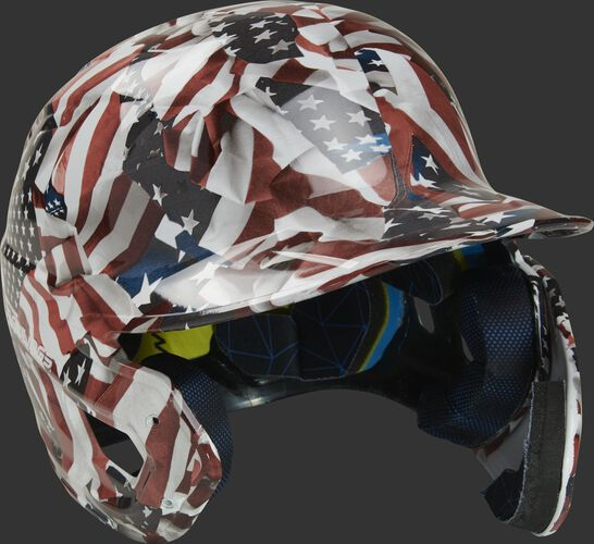 Front right of a MACHEXTR-USA USA themed hydro dipped Mach EXT helmet for right hand batters