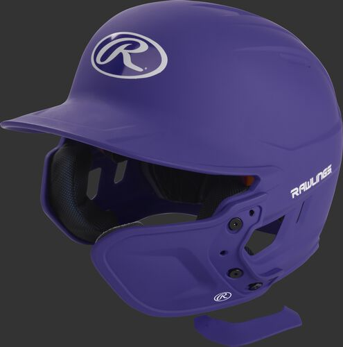 A matte purple MEXT attached to a Mach batting helmet showing the hardware