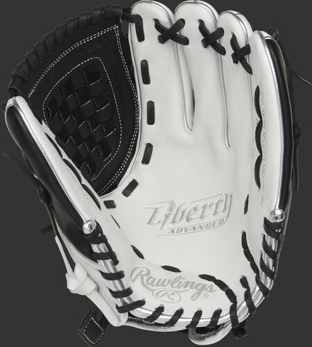 RLA120-3BP Rawlings Liberty Advanced Color Series glove with a white palm, black web and black laces