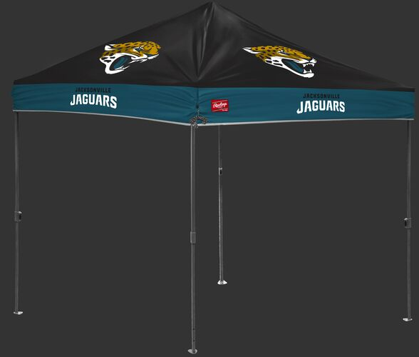 A black/green NFL Jacksonville Jaguars 10x10 canopy with team logos on each side - SKU: 02231091111