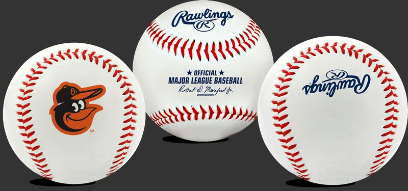 3 views of a MLB Baltimore Orioles baseball