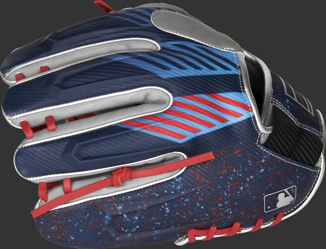 3D molded back of a REV1X 11.5-Inch infield glove with a sublimated design back - SKU: REV204-2X