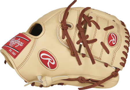 Thumb view of a camel PROS205-9CC 11.75-inch Rawlings Pro Preferred infield/pitcher's glove with a camel two-piece solid web