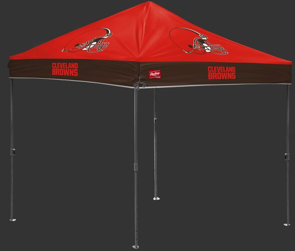 An orange/brown NFL Cleveland Browns 10x10 canopy with team logos on each side - SKU: 02231064111