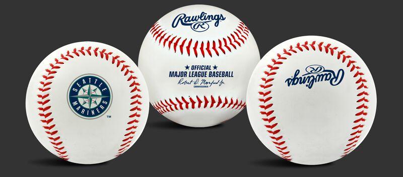 3 views of a MLB Seattle Mariners baseball