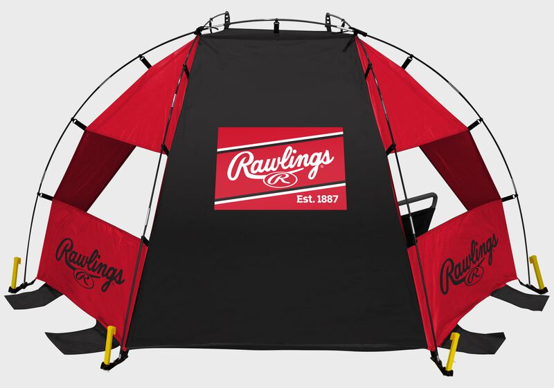Back of a red/black Rawlings sideline sun shelter with a Rawlings patch logo in the middle - SKU: 00974043511