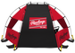 Back of a red/black Rawlings sideline sun shelter with a Rawlings patch logo in the middle - SKU: 00974043511 image number null