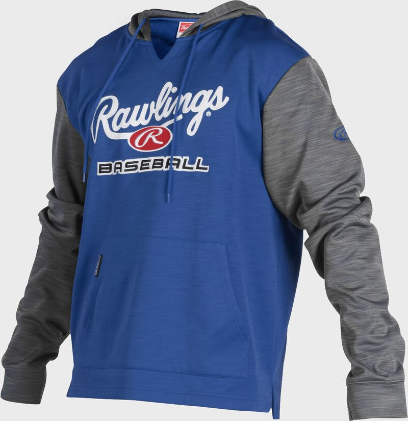A royal Rawlings adult long sleeve hoodie with a Rawlings log on the chest and heather gray sleeves - SKU: PFH2PRBB-R/GR
