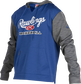 A royal Rawlings adult long sleeve hoodie with a Rawlings log on the chest and heather gray sleeves - SKU: PFH2PRBB-R/GR image number null