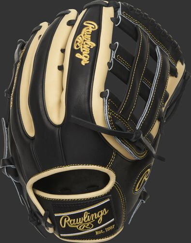 Black/camel back of a 2021 HOH R2G H-web outfield glove with a black Rawlings patch - SKU: PROR3319-6BC
