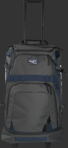 Front of a grey R1801 Rawlings wheeled catcher's backpack with navy trim