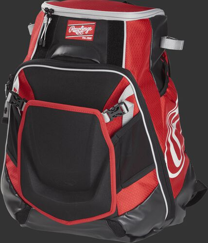 Front left of a scarlet VELOBK Rawlings Velo equipment backpack with an Oval R logo on the side compartment