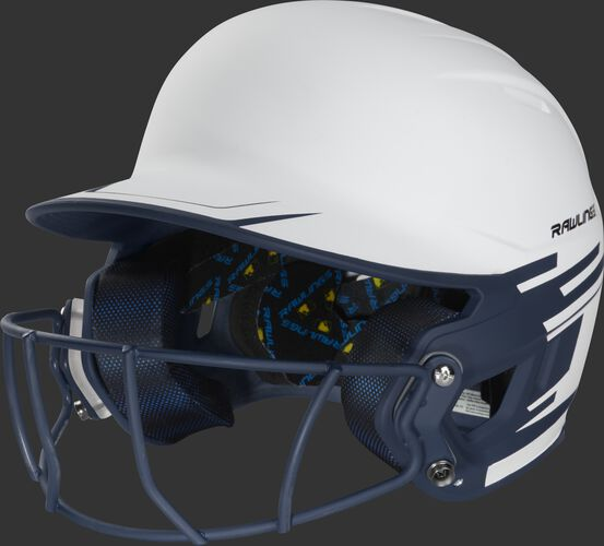 Front left of a white/navy Mach softball helmet with a navy mask - SKU: MSB13S-W/N