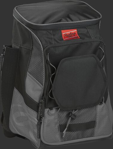 Front right of a gray/black R600 Rawlings backpack without bats