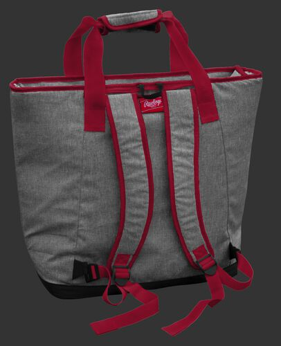 Back of an Oklahoma Sooners tote cooler with backpack straps - SKU: 10323045111