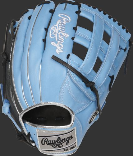 PRO3039-6CB Heart of the Hide ColorSync 12.75-Inch H-web glove with a columbia blue back and Hyper Shell trim