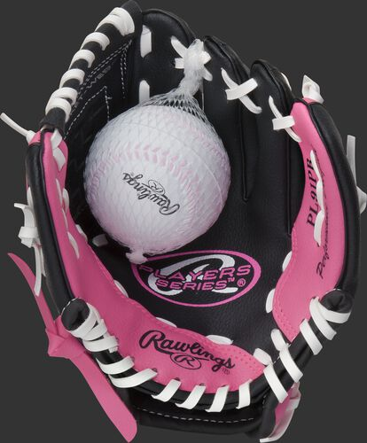 A ball in the palm of a 9-inch Players black/pink t-ball glove - SKU: ACAPL91PB