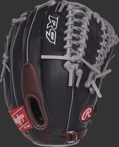 R96019BSGFS 12.75-inch R9 Finger-Shift outfield glove with a black back and sherry finger pad