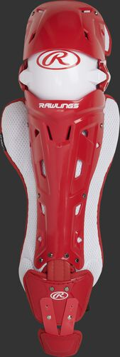 A scarlet Mach adult leg guard with white trim and intelligent knee position system - SKU: MCHLGA-S