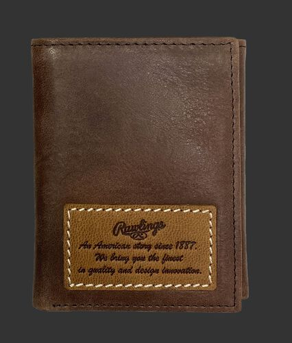 A brown American Story tri-fold wallet with a leather patch telling the Rawlings American story - SKU: RPW002-200