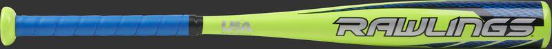 TBZR12 USA Raptor t-ball bat with a lime green barrel and grey logo