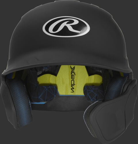 Front of a matte black MACHEXTR high school/college Mach batting helmet with face guard extension for right hand batters