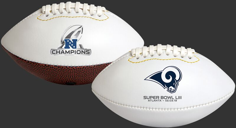 White NFL 2019 NFC Champions Los Angeles Rams Youth Size Football With Team Logo SKU #06571101124