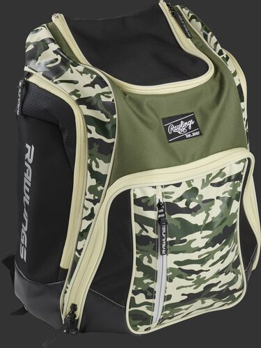 Right angle view of a camo Rawlings Legion backpack - SKU: LEGION-CAMO