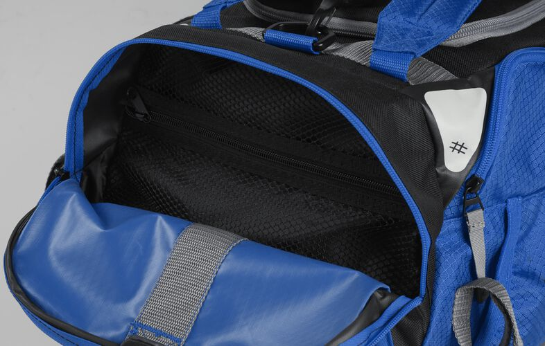 Side pocket of a royal R601 hybrid backpack/duffel bag with a mesh compartment