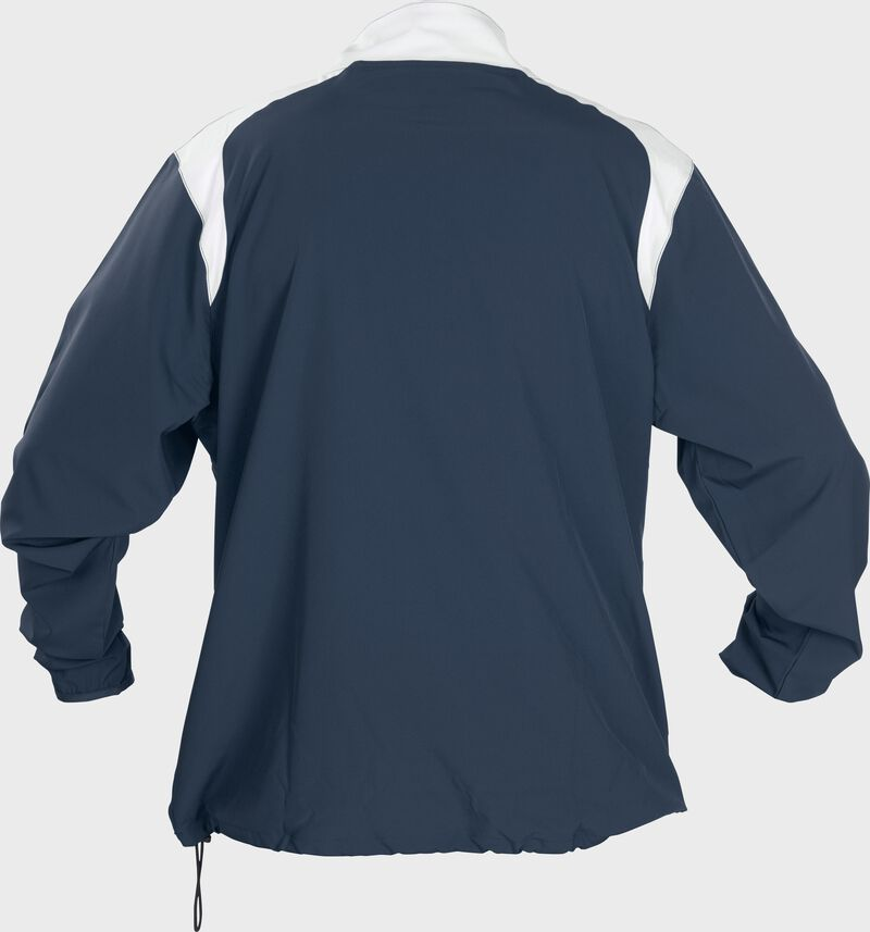Back of Rawlings Navy Adult Long Sleeve Quarter-Zip Jacket - SKU #FORCEJ-B-88