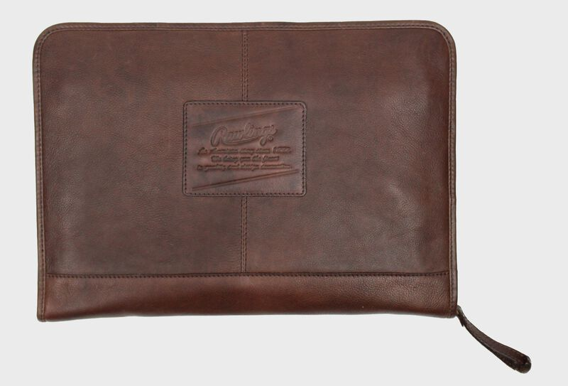 A brown rugged portfolio with a leather Rawlings patch logo in the middle - SKU: V614-200