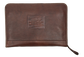 A brown rugged portfolio with a leather Rawlings patch logo in the middle - SKU: V614-200 image number null