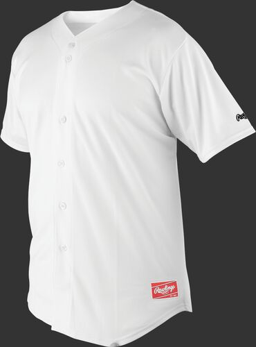 Front of Rawlings White Adult Short Sleeve Jersey  - SKU #RJ140